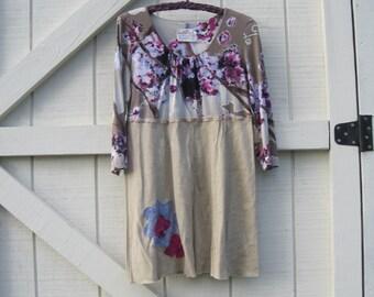 Boho dress, mini dress, fall artsy rustic tattered rustic Hippie dress, mini dress M, gypsy rustic funky, M Ready to ship