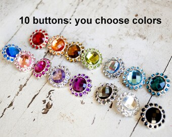 Acrylic Rhinestone Buttons - Large Rhinestone Buttons - 23mm Colored Rhinestone Buttons - Set of 10 - You Choose Colors - Large Bling Button
