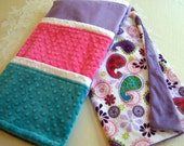 Paisley Hot Pink, Purple, Teal & Floral Soft Minky Baby Blanket