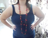 Red and Brown Beaded Art Glass Long Necklace