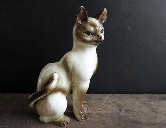 vintage cat figurine siamese cat figurine unique hand painted vintage ceramic figurine