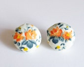 Vintage Fabric button Earrings in Orange, Gray and Yellow