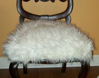 Antique French Chair Vanity Chair Upholstered with Faux Mongolian Fur