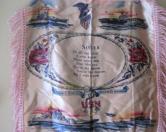 Wonderful Vintage United States Navy Sister Pink Satin Pillow Cover