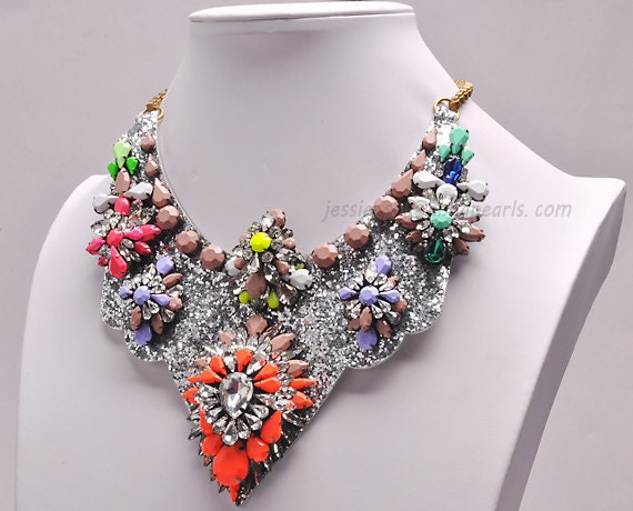 Neon Crystal Necklace, Luxury Necklace, Statement Necklace, Layer Jewelry, Bubble Necklace, Bling Bling Jewelry (Fn0911)