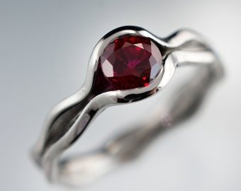 Chatham Lab created Ruby Wave Engagement Ring in Palladium, Yellow Gold, Rose Gold, White Gold or Platinum