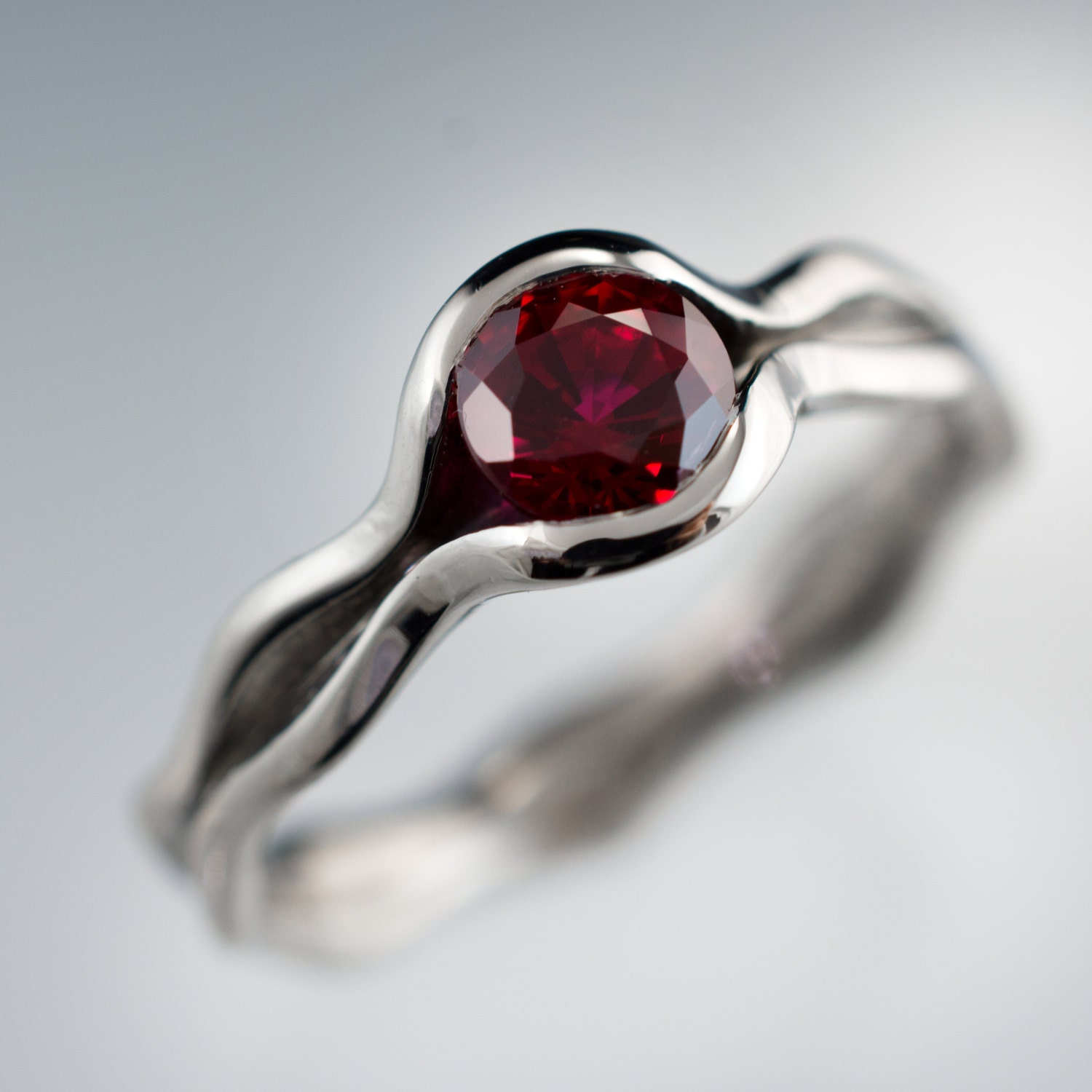 chatham lab created ruby wave engagement ring in palladium. Black Bedroom Furniture Sets. Home Design Ideas