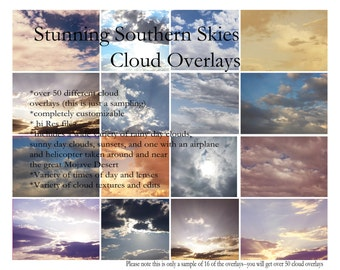 50 Stunning Cloud Overlays add texture and style to your photography Hi Res jpeg downloads for photoshop, variety pack of day, sunset, rain