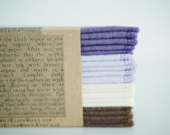 Cloth Wipes Family Cloth Wipes Baby Cloth Wipes - Set of 20 - Girl Wipes - Solid Brown Cream Lilac Purple -  Double Layer