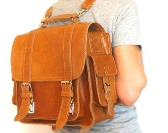 """Extra large leather  camera bag / 13"""" laptop Briefcase / Messenger / Backpack / Satchel / Women/Men natural (tan) leather backpack"""