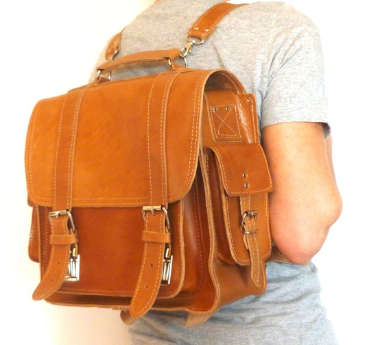 "Extra large leather  camera bag / 13"" laptop Briefcase / Messenger / Backpack / Satchel / Women/Men natural (tan) leather backpack"