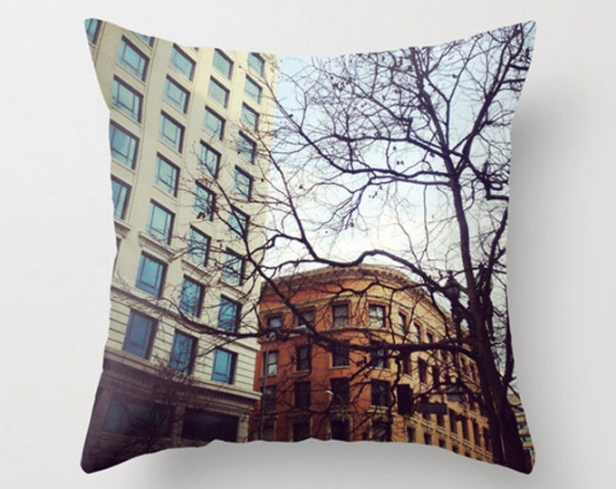 Urban Sofa Pillow, Downtown Accent Pillow, Neutral Accent, Neutral Throw Pillow Cover, 18x18 24x24 Decorative Pillow Cushion Architecture