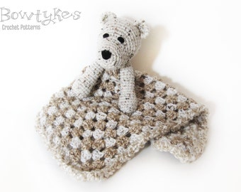 Bear Lovey CROCHET PATTERN instant download - blankey, blankie, security blanket