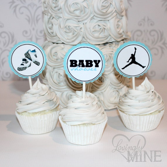 jordan jumpman inspired baby shower cupcake toppers 12 per set