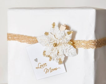 Winter White Poinsettia Gift Tag Holiday Party or Wedding Clips with Gold Glitter. Christmas Tree Decoration Wish Clips - Set of 12