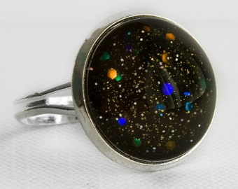 Black Hole Ring in Silver - Black with Small Gold & Silver and Large Indigo, Blue, Green and Orange Glitter Cocktail Ring