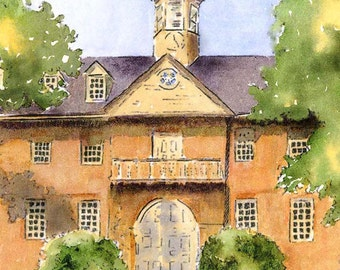 "William and Mary, Wren Building close up with a rustic quality, 11""x14"" Mat Size Print"