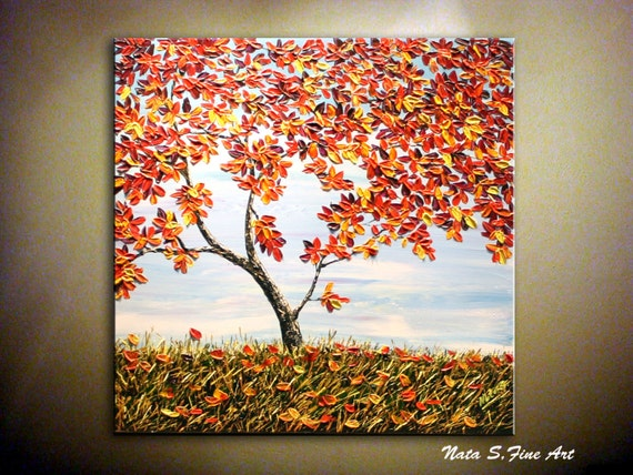 Original landscape painting abstract autumn tree painting fall for Fall paintings easy
