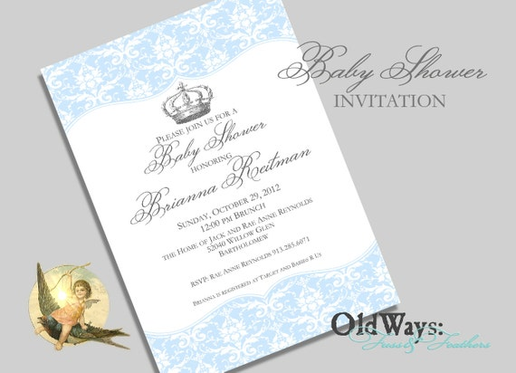 little prince baby shower invitation boy blue and grey vintage damask