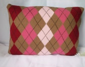 Upcycled Knit Pillow, 16x12 Brown and Pink Argyle, READY TO SHIP