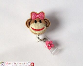 Sock Monkey Retractable Badge Reel - Felt ID Holder - Fun Badge Clips - Pediatric ID Reels - Cute Badge Holder - Gifts Under 10 - Girly ID