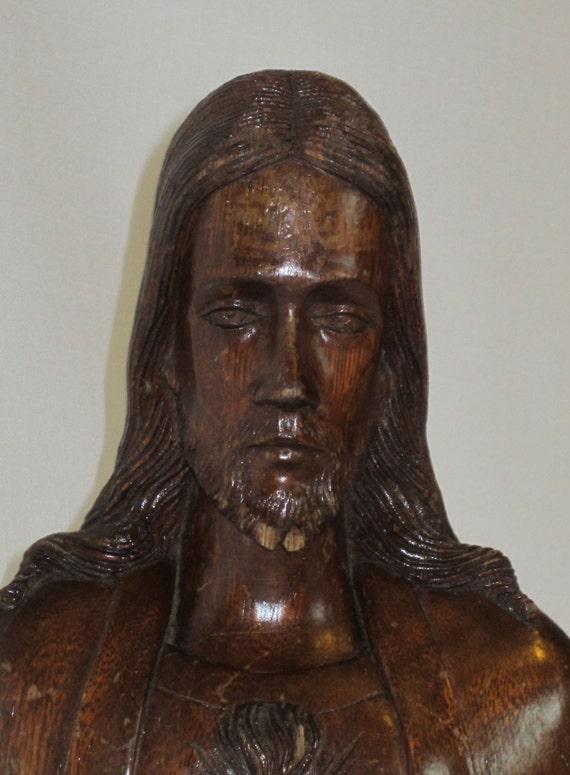 Hand Carved Sacred Heart Of Jesus Wood Santos Or Bultos
