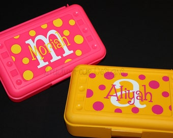 Personalized Pencil Box/ Art Supply Holder -  Back to School - Most Popular Back to School Gift - Assorted Colors/Designs