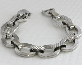 Vintage Sarah Coventry Signed Silver Tone Chunky Chain Link Bracelet