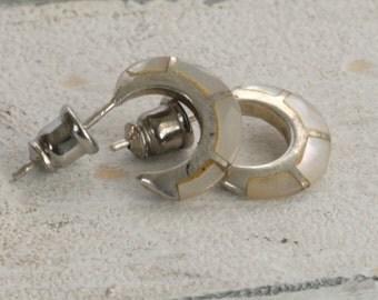 Vintage Sterling Silver Inlaid Mother of Pearl Hoop Pierced Earrings
