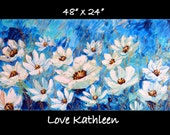 Original Modern Large Flower Floral   Impasto Textured Blue Floral Painting Acrylic-  by Kathleen Fenton
