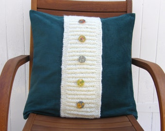 Chunky green cord cushion cover, pillow sham, throw pillow with knitted panel across front with button detail,zipped closure,20 x20 inch