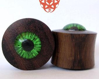 3/4 Ear Plugs, Wooden Gauges, Glass Green Eyes, Wood Ear Plugs, Ear Gauges, Eye Plugs, Green Eyes, Glass Gauges, Pierced Eye Design