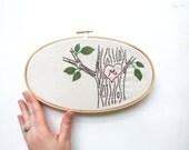 Embroidery Art Monogram Woodland Linen Embroidery Hoop Heart Tree Personalized Nursery Housewarming Wall Art