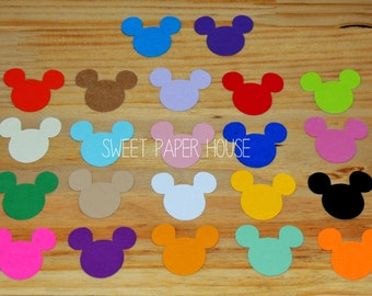 50 - 3 inch - MICKEY MOUSE (Choose Colors) (Invitation, Wishing Tree, Wedding, Minnie Party, Mickey Party, Birthday, Favor Tag, Shower, Boy)