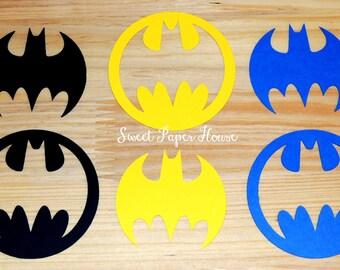 100 Batman Die Cuts - 3 Inch - Black, Yellow, Blue (Cardstock, Super Hero, Superhero, Batman Baby Shower, Batman and Robin, Batman Wedding)