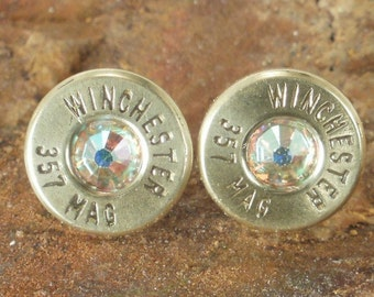 Bullet Earrings - Winchester 357 Magnum - AB Crystal - Ultra Thin