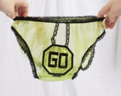 """Lime Green """"Go"""" Vintage Underwear 1960s Lace"""