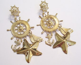 Huge Vintage Gold Plated Nautical Sailboat Ship Wheel Anchor Starfish Pierced Earrings with Dangles