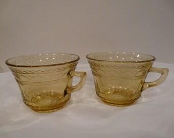 Patrician Spoke Coffee Cups Federal Glass Vintage
