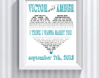 Ombre Song Lyric Art Wedding Song Art Lyric Print Anniversary Gift Printable Lyrics Printable Wall Art Heart Art