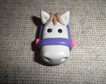 Polymer Clay Pony/Horse - Cute White Horse/Pony Pendant.