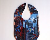 superman baby bib city minky cotton