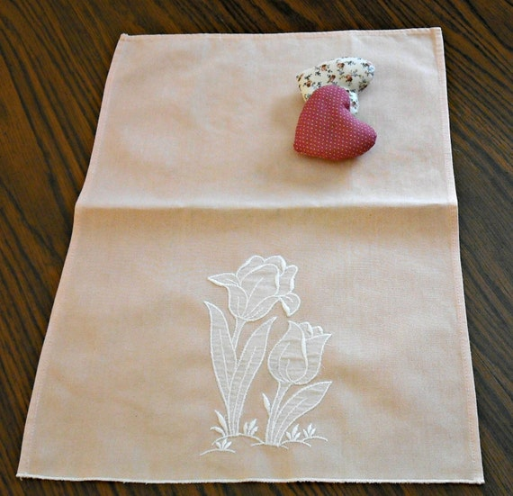 Embroidered Tulips Tea Towel Peach Salmon Vintage