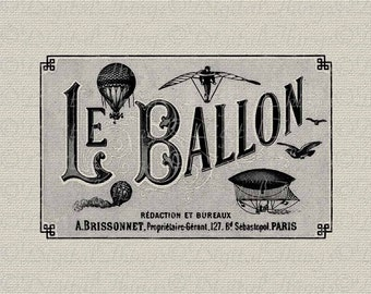French Steampunk Airship Paris French Decor Wall Decor Art Printable Digital Download for Iron on Transfer Fabric Pillows Tea Towel DT169
