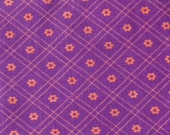 Vintage 60s Purple & Pink Floral Cotton Fabric Remnant 2 1/2 Yards