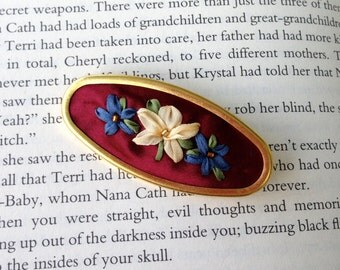Red White and Blue Embroidered Brooch - Silk Ribbon Embroidery by BeanTown Embroidery