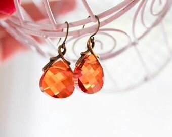 Swarovski Chili Pepper Crystal earrings for women - wedding, bridal party, bridesmaids, formal