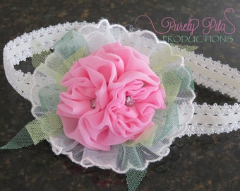 READY TO SHIP:  Pink rosette Lace headband. Baby Headband, Infant Headband, Chiffon Headband. Bow Headband. Photography Prop.