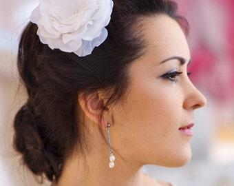 Bridal silk flower, Bridal hair flower, flower fascinator, Botanical wedding hair accessory-Clarissa
