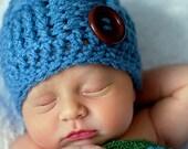 New Season Baby Boy Hat  Basketweave Caribbean Blue Newborn Infant Hat Ready